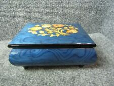 Italy Ercolano Torna A.Surriento Blue Wood Grained Inlaid with Flowers Music Box