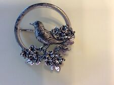 Bird with flowers brooch brushed metal