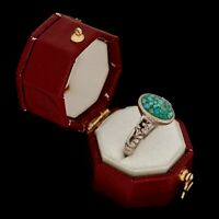 Antique Vintage Sterling 925 Silver Native Zuni Inlay Turquoise Chip Ring S 5.75