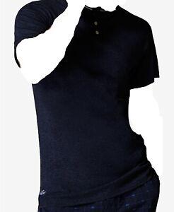 $150 Lacoste Men Slim Fit Blue Henley Short Sleeve Pajama Pj Croc Logo T Shirt S