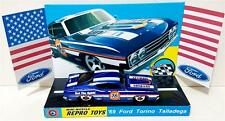 Hot Wheels 1969 FORD TORINO TALLADEGA Blue Model Car on Custom Repro Display
