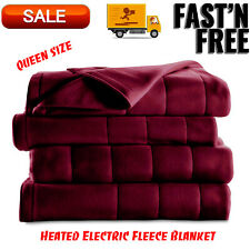 Heated Electric Fleece Blanket w/ 5 Heat Settings Queen Size Garnet Machine Wash