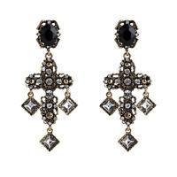 Earrings Clip On Golden Big Chandelier Cross Black Lacework Baroque X29