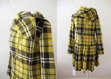 GASP Brown Yellow Plaid Check Coat Dress Small 10 3 + items for FREE Postage