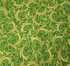 Festive Elegance BTY Studio 8 VIP Tan Green Leafy Scrolls Metallic Gold Stars