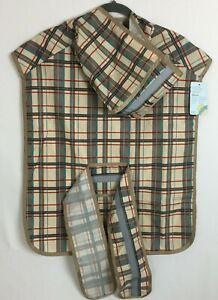 KOOLTAIL Dog Raincoat Hooded Reflective Strip Waterproof Brown Plaid Size XL