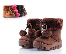 Brown Zipper Open Faux Fur Booties Toddlers Kids Girls Winter Boots Size 4