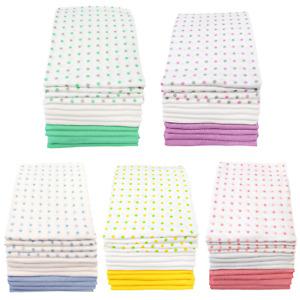 MuslinZ 12PK Baby Muslin Squares Cloths 70cms 100% Pure Soft Cotton Spot Combo