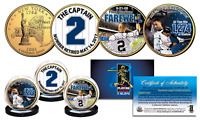 DEREK JETER Yankees Captain #2 Retired 24K Gold Plated NY Quarters 3-Coin Set