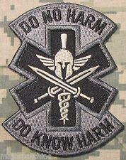 DO NO HARM DO KNOW HARM SPARTAN MEDIC EMT EMS US ACU HOOK PATCH