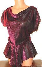Women's size 5 Sprouts Metallic Blouse Raspberry Semi-sheer