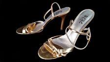 BCBG Paris womens 7.5 B 37.5 Gold leather strappy sandal heels cocktail clubwear