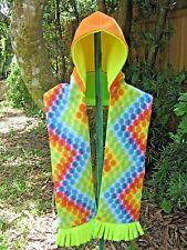 Hooded Pocket Scarf, Bright Dot Print, Handmade, Orange & Yellow Hood,Fleece,
