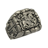Saint George Roman Soldier handcrafted Sterling Silver 925 men's ring US Sizes