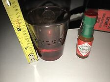 2 Bacardi  Fuego Two Shot Glasses Red Bottoms mini Tobasco Bottle new in boxes