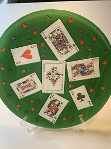 Playing Cards Glass SERVING PLATE PLATTER Bridge Poker Card Party Casino Gamble