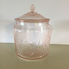 "Hazel Atlas ""Royal Lace"" Pink Depression Glass Cookie Biscuit Jar w/Lid"