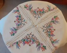 Vintage Hand Embroidered Linen Tablecloth ~ Silk Embroidered Sundials Lupins etc