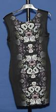 ~H & M~BLACK ROUND NECK SLEEVELESS BODYCON DRESS WITH FLOWER PATTERN~SIZE M~