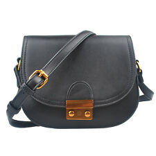 Crossbody Bag for Women Vintage Style Black Color Saddle Purse Vegan Leather