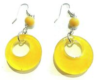 Vintage 1960s Earrings Yellow Lucite Hoop Mod Punk Uk Seller Drop Dangle