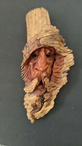 Vintage Hand Carved Signed Wood Spirit Old Man Face Tree Sculpture approx 10 x 5