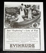 1916 OLD MAGAZINE PRINT AD, EVINRUDE DETACHABLE ROWBOAT & CANOE MOTORS, EXPLORE!