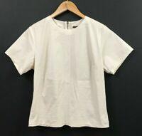 Theory Flare Zip Back Top Beige Stretch Cotton Short Sleeve Blouse sz M Medium