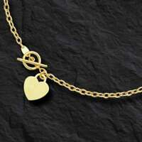 "14kt Yellow Gold Rolo Charm Link Chain/Necklace with HEART Toggle lock 17"" 3M 5g"
