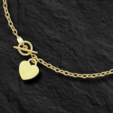 """14kt Yellow Gold Rolo Charm Link Chain/Necklace with HEART Toggle lock 17"""" 3M 5g"""