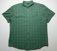 Oakley Mens Button Down Front Size XL Green Gray Plaids Short Sleeves
