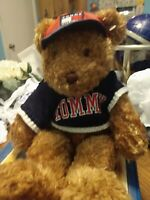 "Vintage Tommy Hilfiger Brown Teddy Bear Stuffed Plush Red Hat Blue Sweater 16"""