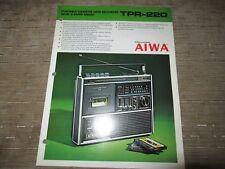 AIWA TPR-220 Portable radio Cassette player recorder Original Catalogue