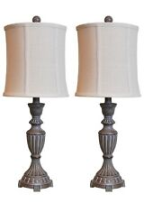 "Mestar Decor 25"" Whitewash Tall Buffet Lamps Table Lamp Side Table Lamp set of 2"
