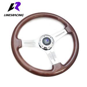 13.8″ 6 BOLT Wooden CHROME 3-SPOKE RACING STEERING WHEEL  w/  HORN For Honda
