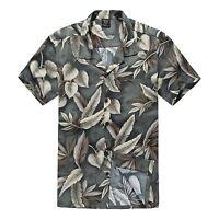Men Hawaiian Shirt Cruise Tropical Luau Beach Aloha Party Green Feather Leaf