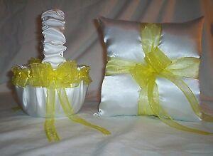 WHITE SATIN / YELLOW TRIM FLOWER GIRL BASKET & RING BEARER PILLOW #1