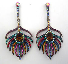 Butler & Wilson Multi Crystal Peacock Feather Earrings NEW