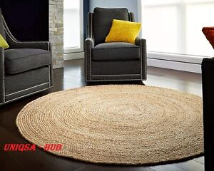 Round Rug 4x4 Feet Hemp rug Area Rugs Floor Rug Handmade Modern reversible Rug