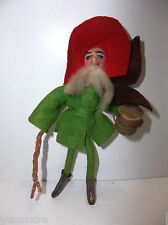 Vintage DRESDEN German ELF Christmas Ornament FELT LEATHER Cotton