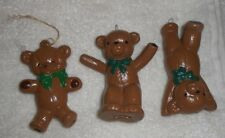 Set of 3 Homemade Light Brown Bears Holiday Christmas Ornaments