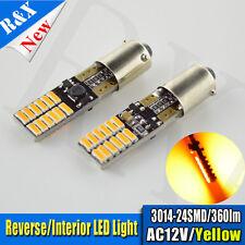 2x BA9S H6W  3014 LED Amber/Orange CANBUS Error Free Interior Car Light Bulbs AC