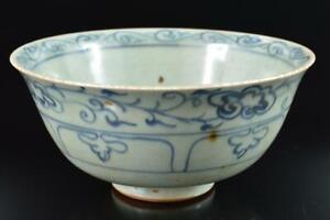 #8873: XF Chinese Blue&White Flower Arabesque Muffle painting TEA BOWL Chawan