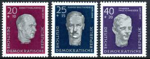 Germany DDR/GDR B33-B35,MNH.Ernst Thalmann,R.Breitscheid,Rev.P.Schneider,1957