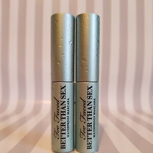2 Too Faced Better Than Sex Waterproof Mascara 4.8g/0.17oz Travel Size ~ NWOB