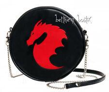 Goth : Alchemy Sac Bandoulière Rond NOIR Dragon ROUGE gothique