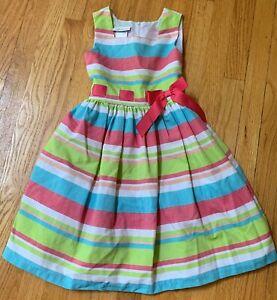 Bonnie Jean Girls Size 7 Summer Dress Colorful Stripes Pink Blue Green - EUC!