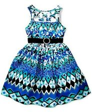 Bloome Girls' Belted Mixed-Print Dress, Blue/White, Size 12