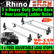 Land Rover Defender 90 110 Roof Rack 3 Bars Rails With Rear Roller Rhino Delta