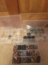 Jewelry Making Supplies Lot 5lbs Findings Fire Mt. Glass Beads Headpins Wood Mix